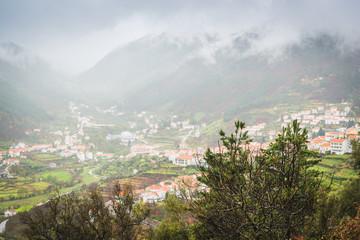 View of Manteigash village in the Serra da Estrela mountains. County of Guarda. Portugal