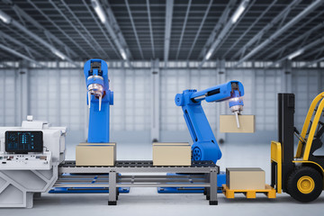 robot arms working with cardboard boxes and forklift truck