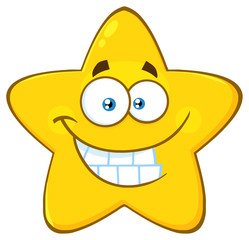 Funny Yellow Star Cartoon Emoji Face Character With Smiling Expression. Illustration Isolated On White Background