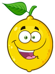 Happy Yellow Lemon Fruit Cartoon Emoji Face Character With Funny Expression. Illustration Isolated On White Background