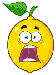 Scared Yellow Lemon Fruit Cartoon Emoji Face Character With Expressions A Panic. Illustration Isolated On White Background