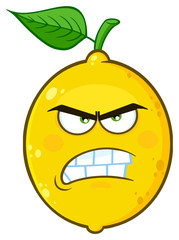 Angry Yellow Lemon Fruit Cartoon Emoji Face Character With Aggressive Expressions. Illustration Isolated On White Background