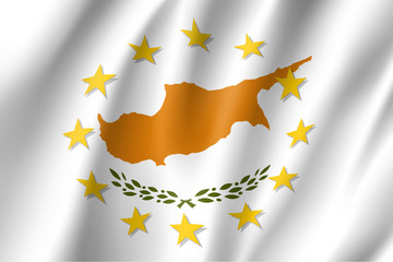 Cyprus national flag with a circle of European Union twelve gold stars, identity and unity with EU, member since 1 May 2004. Realistic vector style illustration