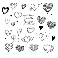 Set of hand drawn doodle vector hearts.