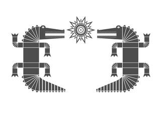 Тёмно-серое изолированное графическое декоративное изображение двух крокодилов, смотрящих друг на друга, и солнца между ними. Место для текста внутри.