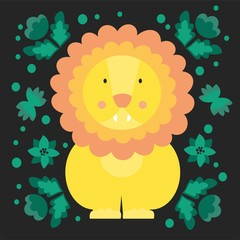 Cute Lion surrounded by flowers. Cartoon character. Vector illustration.