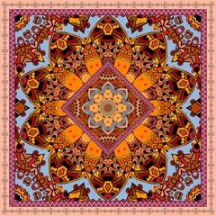Abstract floral background with beautiful mandala  and ornamental border. Vector illustration. Tablecloth, bandana, napkin, carpet, pillowcase, greeting card.
