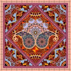 Ethnic print with paisley, flowers mandalas and ornamental frame in indian style.
