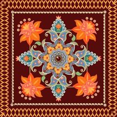 Tea box packaging design. Floral paisley pattern. Greeting card, pillow, rug, kerchief. Vector template.