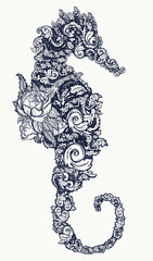 Sea horse tattoo and t-shirt design Symbol of travel, freedom, navigation. Seahorse of flowers isolated on white background t-shirt art