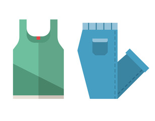 T shirt and jeans icons in flat design. Casual clothes vector illustration with folded pants and singlet.