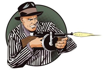 Man with machine gun. Stock illustration.