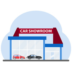 The building of a car showroom