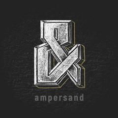 Vector chalk ampersand hand-drawn on grunge blackboard