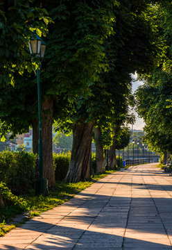 embankment with lantern at sunrise