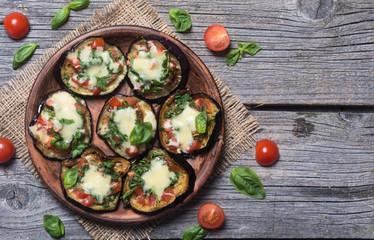 Mini pizza with eggplant