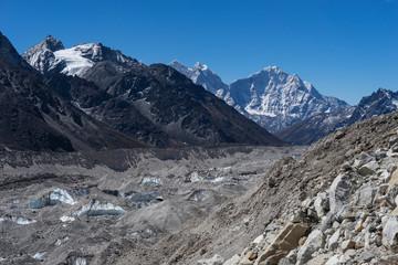 Khumbu glacier in front of Kangtega and Thamserku peak, Everest region, Nepal