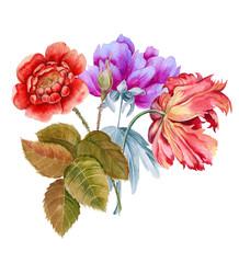 Bouquet of flowers. Batanic watercolor illustration