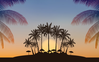 Silhouette palm tree on island under sunset sky background
