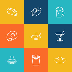Set Of 9 Dish Outline Icons Set.Collection Of Porridge, Soup, Cocktail And Other Elements.