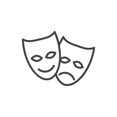 Isolted Theater Outline Symbol On Clean Background. Vector Masks Element In Trendy Style.