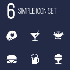 Set Of 6 Eat Icons Set.Collection Of Martini, Barbecue, Eggs And Other Elements.