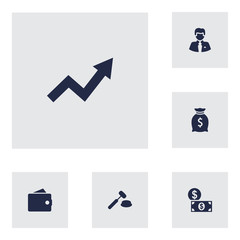 Set Of 6 Budget Icons Set.Collection Of Grown, Judge, Worker And Other Elements.