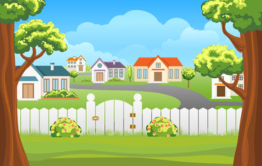 Outdoor backyard background cartoon vector illustration. Home sunny suburb patio courtyard area with grass and fence