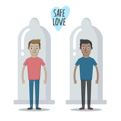 Vector illustration about importance of using condoms. Flat cartoon modern style graphic. Two boys wearing condoms. Safe love picture. Protect yourself from STD