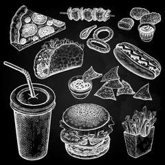 Fast food set. White chalk on black board.