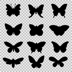 Black butterflies set on transparent background