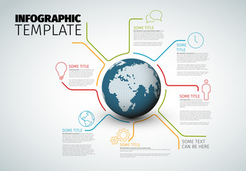 Vector Infographic report template with globe