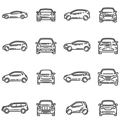 Set of various cars front and side view outline vector icon.