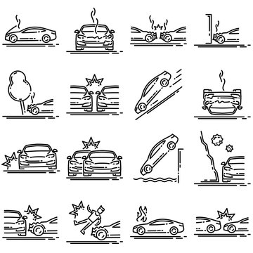 Set of car accident outline vector icon.