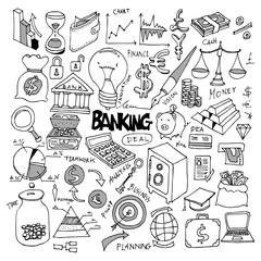 Banking Doodle Icon vector set eps10