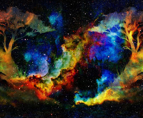 Tree in cosmic space background. color collage.