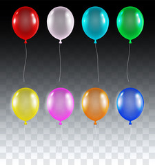 set of real colorful transparent helium balloons vector