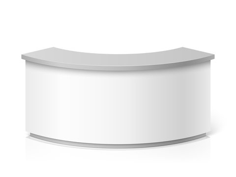 White blank modern reception. Round information desk or exhibition counter vector illustration