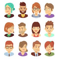Happy vector characters. Young man and woman smiling faces avatar collection