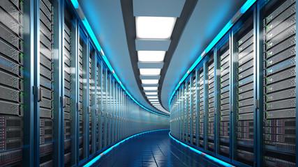 Modern datacenter. Cloud computing. 3d rendering Wall mural