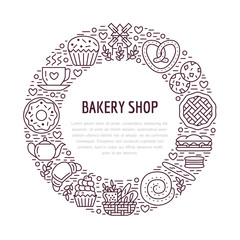 Bakery, confectionery poster template. Vector food line icons, illustration of sweets, pretzel croissant, muffin, pastry cupcake, pie, mill. Bread house products banner with place for text.