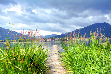 Wooden dock that lead to Tegernsee lake through big grass, Bavaria, Germany
