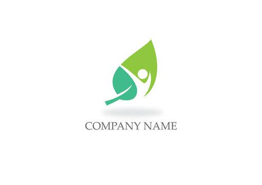 green leaf swoosh happy organic logo