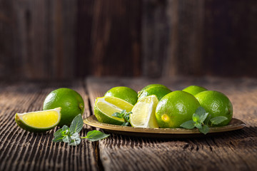 Bunch of green limes.