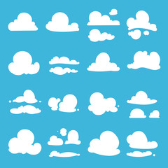 Different clouds in cartoon style. Vector illustration set