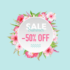 Summer Sale Tropical Flowers Banner, for Discount Poster, Fashion Sale, Market Offer in vector
