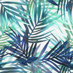 Exotic leaves seamless pattern.