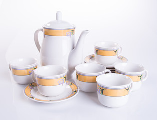 tea set or porcelain tea set on background.