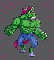 Unicorn Rage / Cartoon illustration of mad raging unicorn.