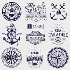 Sea and nautical logos isolated on white background.